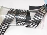 """Foil Chevron Grosgrain Ribbon 1 1/2"""" Black & Silver"""