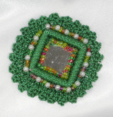 "Sew On Mirror Crochet Beaded Applique Green 2"""