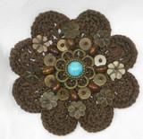 "Sew On Crochet Applique Beaded Brown 3 1/8"""