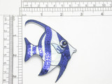 """Sequin Holographic Fish  - Blue Bannerfish Iron On Patch Applique    Embroidered on a White Holographic Backing and detailed with Navy Blue Sequins  Measures 2 3/8"""" across x 3 3/8"""" high"""