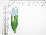 """Blue Iris Patch  Iron On Embroidered Applique 4"""""""