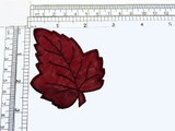 """Leaf Sheer Burgundy Embroidered Iron On Applique  Embroidered Border and vein detail on a sheer backing  Measures 3 1/4"""" across x 2 5/8"""" high"""