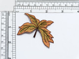 """Fall Autumn Leaf Iron On Applique  Fully Embroidered in Rayon Threads. Measures 2 1/4"""" long x 1 3/4"""" wide"""