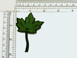 """Maple Leaf Green Iron On Embroidered Applique  Fully Embroidered in Rayon Threads. Measures 2 3/4"""" long x 2"""" wide"""
