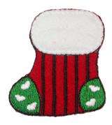 Christmas Stocking Stripy Iron On Applique