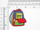 """School Back Pack Iron On Patch Applique   Embroidered on Red Backing    Measures 2 1/8"""" high x 1 7/8"""" wide approximately"""