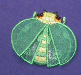 """LadyBug Layered Dark Green Iron On Patch Applique  Embroidery on Sheer - 2 Layers   Measures 2"""" across x 1 5/8"""" high"""