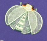 """LadyBug Layered Light Green Iron On Patch Applique  Embroidery on Sheer - 2 Layers   Measures 2"""" across x 1 5/8"""" high"""