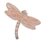 Dragonfly Sheer Peach & Silver