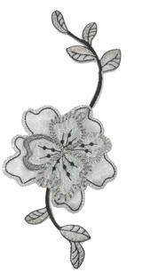 Floral Spray Black & Sheer Silver