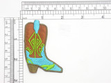 """Cowboy Boot Patch Iron On Embroidered Applique    Fully Embroidered with Rayon  Threads   Measures 2 5/8 high x 1 7/8"""" wide approximately"""