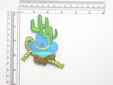 """Hat Lasso & Cactus Patch Iron On Embroidered Applique  Fully Embroidered with Rayon  Threads   Measures 3 1/2"""" high x 3 1/4"""" wide approximately"""