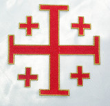 "Jerusalem 5 Part Cross 5""  Red with Gold Border"