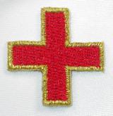 "Jerusalem 1 1/8"" Corner Cross Red with Gold Border"