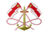 Large Anchor & Flags Red Iron On Patch Applique