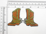 """Cowboy Boot Patch with Spur Left & Right Iron On Embroidered Applique   Fully Embroidered with Rayon & metallic  Threads   Each Piece Measures 2 3/8 high x 1 3/4"""" wide approximately"""