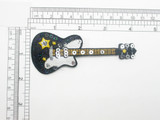 Electric Guitar Patch Black with Sequins Iron On applique