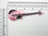 "Electric Guitar Patch Embroidered Iron On Applique Pink 4 1/4"" long X 1 3/8"""