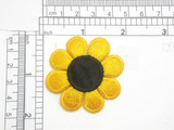 """Daisy Patch 1 7/8"""" Yellow & Black Iron On Embroidered Applique"""