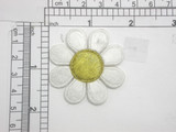 """Daisy Patch 1 7/8"""" White  & Gold Iron On Embroidered Applique"""