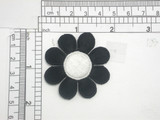 """Daisy Patch 1 7/8"""" Black & White Iron On Embroidered Applique"""