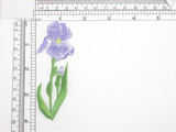 """Purple Iris Patch 4"""" Iron On Embroidered Applique 4"""" x 1 3/8"""""""