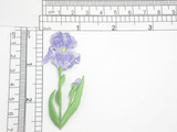 """Purple Iris Patch 1 5/8"""" Iron On Embroidered Applique 2 3/4"""" x 1"""""""