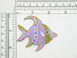 """Studded Purple Fish Iron On Patch Applique    Embroidered with Rayon and Metallic Variegated Threads with Rhine stud Detailing   Measures 2 1/2 """" across x 2 1/4"""" high approximately"""