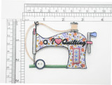 """Sewing Machine """"I Love Quilting"""" Iron On Patch Applique"""