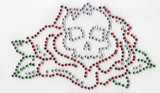 Rhinestone Applique - Skull & Rose