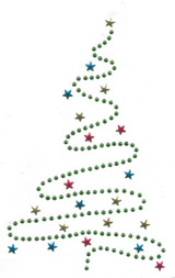 "Christmas Tree Rhinestud Applique Iron On  9 1/2"" high"