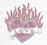 Rhinestud Applique - Burning Love Heart.