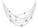 Rhinestud Applique - Neckline Silver Hearts