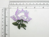 Lilac Rose Patch with Sequins Iron On Embroidered Applique