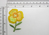 """Buttercup Flower Layered Patch Iron On Embroidered Applique  Measures 1 5/8"""" across x 2 5/8"""" high"""
