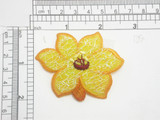 """Yellow Primrose Patch Embroidered Iron On Patch Applique  2 1/8"""" x 2 5/8"""""""