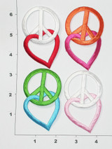 """Peace and Love *Colors* Iron On Patch  Fully Embroidered with Rayon Threads  Measures 3"""" high x 1 3/4"""" wide approximately"""