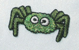 """Spider Sparkly Green 1 1/8"""" across Iron On Patch Applique"""