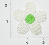 "Sateen Daisy White & Green 5 Petal 2 1/8"""
