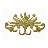 Blooming Crest Applique Metallic Gold