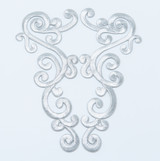 Silver Foil Swirl Patch Iron On Embroidered Applique - Large Decorative Pair