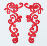Iron On Patch Applique - Large Decorative Red Left & Right Pair
