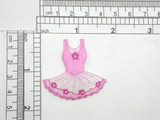 """Ballet Tutu Pink Opalescent Iron On Patch Applique   Embroidered on Opalescent Backing Backing with Rayon Threads & a central Rhinestud detailing  Measures 1 5/8"""" high x 1 5/8"""" wide approximately  (40mm x 40mm)"""