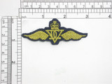 """Military Wings Embroidered Iron On Applique  Fully Embroidered with Navy Blue Rayon and Metallic Gold Threads  Measures 3""""wide  x 1 3/16"""" high ( 75mm x 30mm approximately)"""