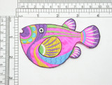 """Large Marine Fish Pink Iron On Patch Applique  Embroidered with Rayon Threads on a pink Acetate Backing   Measures 3 7/8"""" across x 2 1/2"""" high"""
