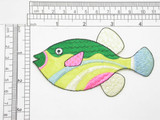 Marine Fish Yellow Green & Multi Iron On Patch Applique