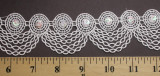 """Venise Lace 1 3/4"""" White Scallop Chains with Sequins"""