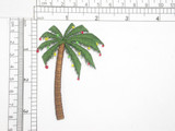 """Palm Tree with Lights Christmas Embroidered Iron On Patch Applique   Fully Embroidered with Rayon Threads    Measures 2 1/4"""" across x 3 1/8"""" high"""