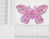 Butterfly Hot Pink on Sheer with Foil