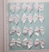 "Bow White Satin Ribbon 2"" x 2"" (50mm x 50mm)  12 Pack"